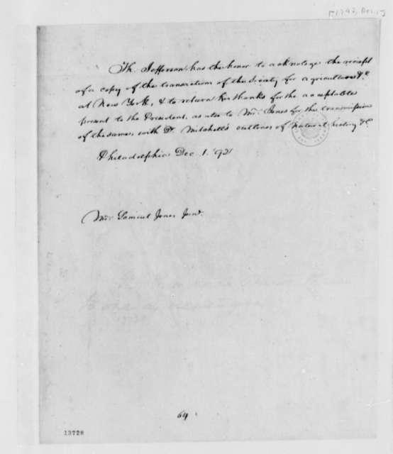 Thomas Jefferson to Samuel Jones, Jr., December 1, 1792