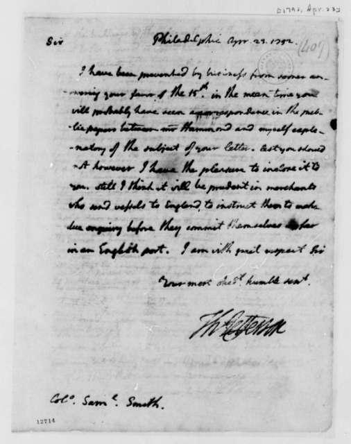 Thomas Jefferson to Samuel Smith, April 23, 1792