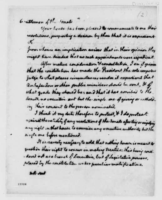 Thomas Jefferson to Senate, January 1, 1792, Draft on Diplomatic Nominations