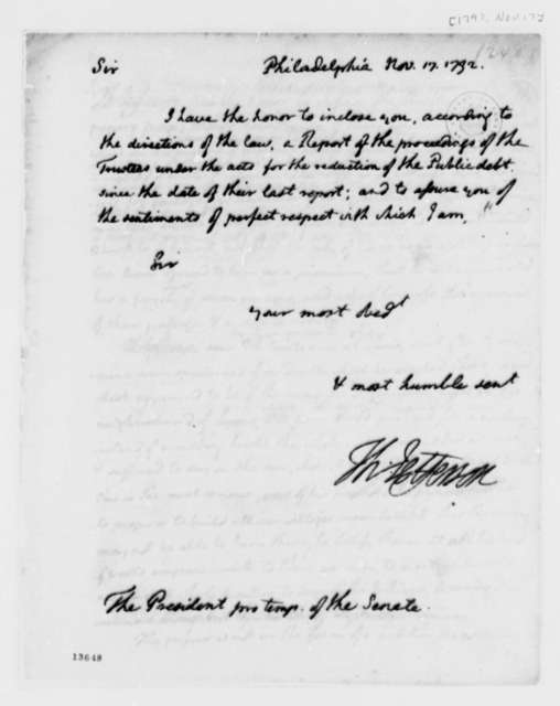 Thomas Jefferson to Senate, November 17, 1792