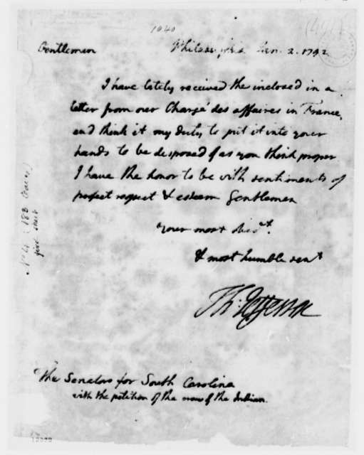 Thomas Jefferson to South Carolina Senators, January 2, 1792