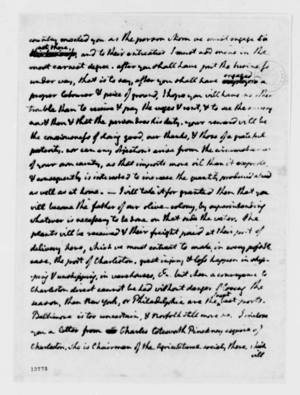 Thomas Jefferson to Stephen Cathalan, Jr., December 2, 1792, with Copy