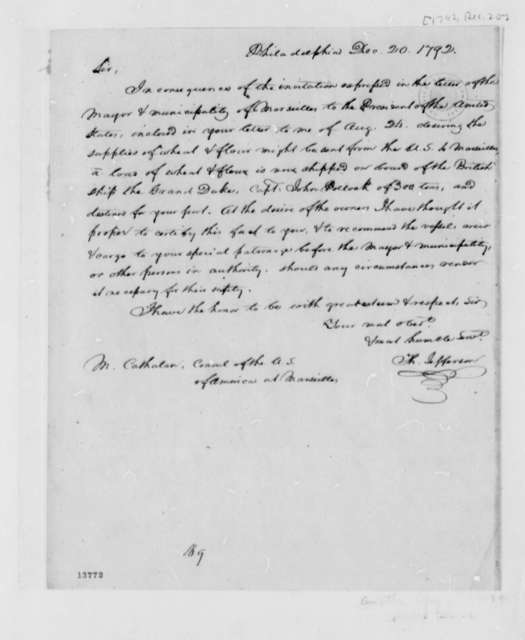 Thomas Jefferson to Stephen Cathalan, Jr., December 20, 1792, with Copies