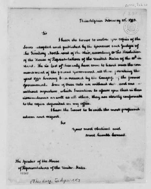 Thomas Jefferson to Theodore Sedgewick, February 22, 1792