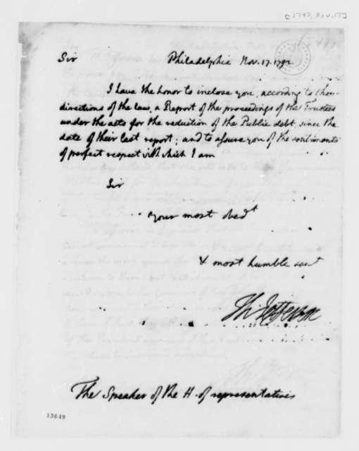 Thomas Jefferson to Theodore Sedgewick, November 17, 1792