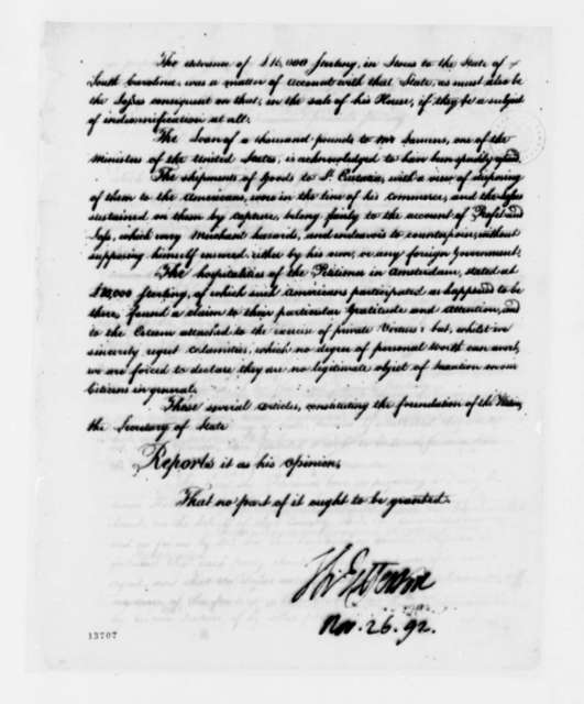 Thomas Jefferson to Theodore Sedgewick, November 26, 1792, with Report