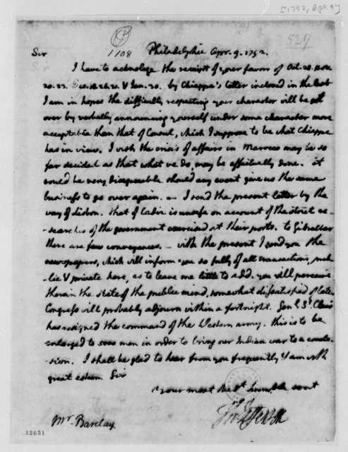 Thomas Jefferson to Thomas Barclay, April 9, 1792