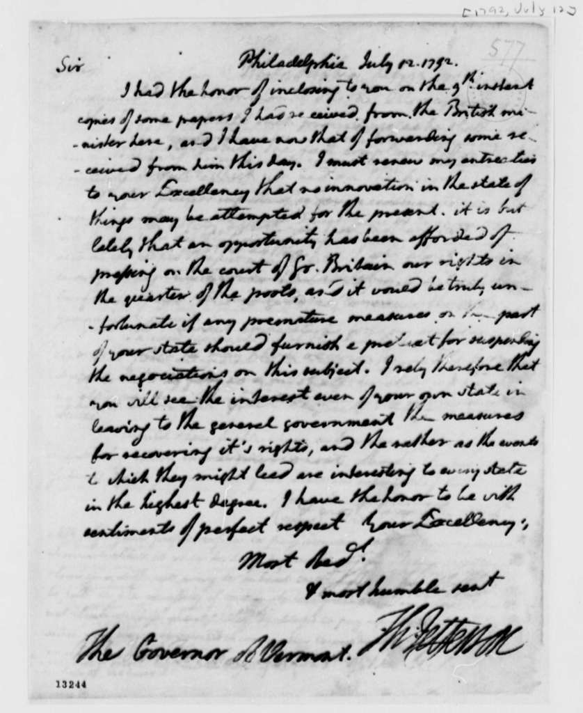 Thomas Jefferson to Thomas Chittenden, July 12, 1792, with Degree and Writ