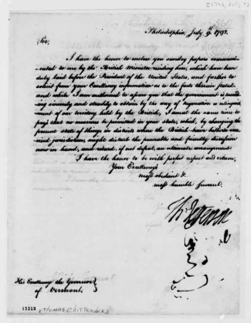 Thomas Jefferson to Thomas Chittenden, July 9, 1792