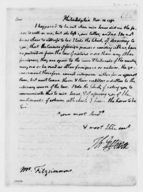 Thomas Jefferson to Thomas Fitzsimmons, November 14, 1792