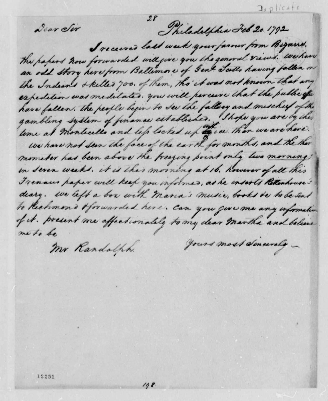 Thomas Jefferson to Thomas Mann Randolph, Jr., February 20, 1792, with Copies