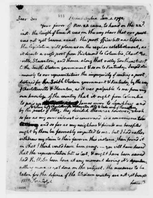 Thomas Jefferson to Thomas Mann Randolph, Jr., January 1, 1792, with Copies