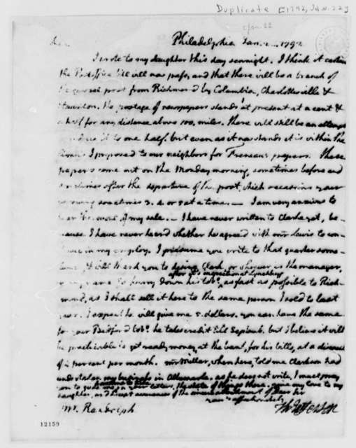 Thomas Jefferson to Thomas Mann Randolph, Jr., January 22, 1792, with Copy