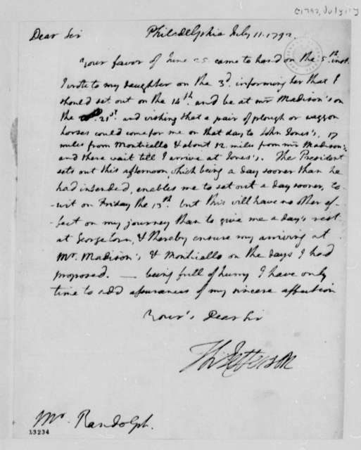 Thomas Jefferson to Thomas Mann Randolph, Jr., July 11, 1792