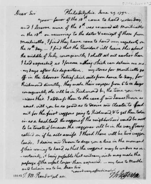 Thomas Jefferson to Thomas Mann Randolph, Jr., June 29, 1792