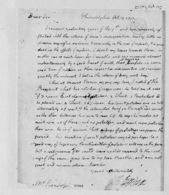 Thomas Jefferson to Thomas Mann Randolph, Jr., October 19, 1792