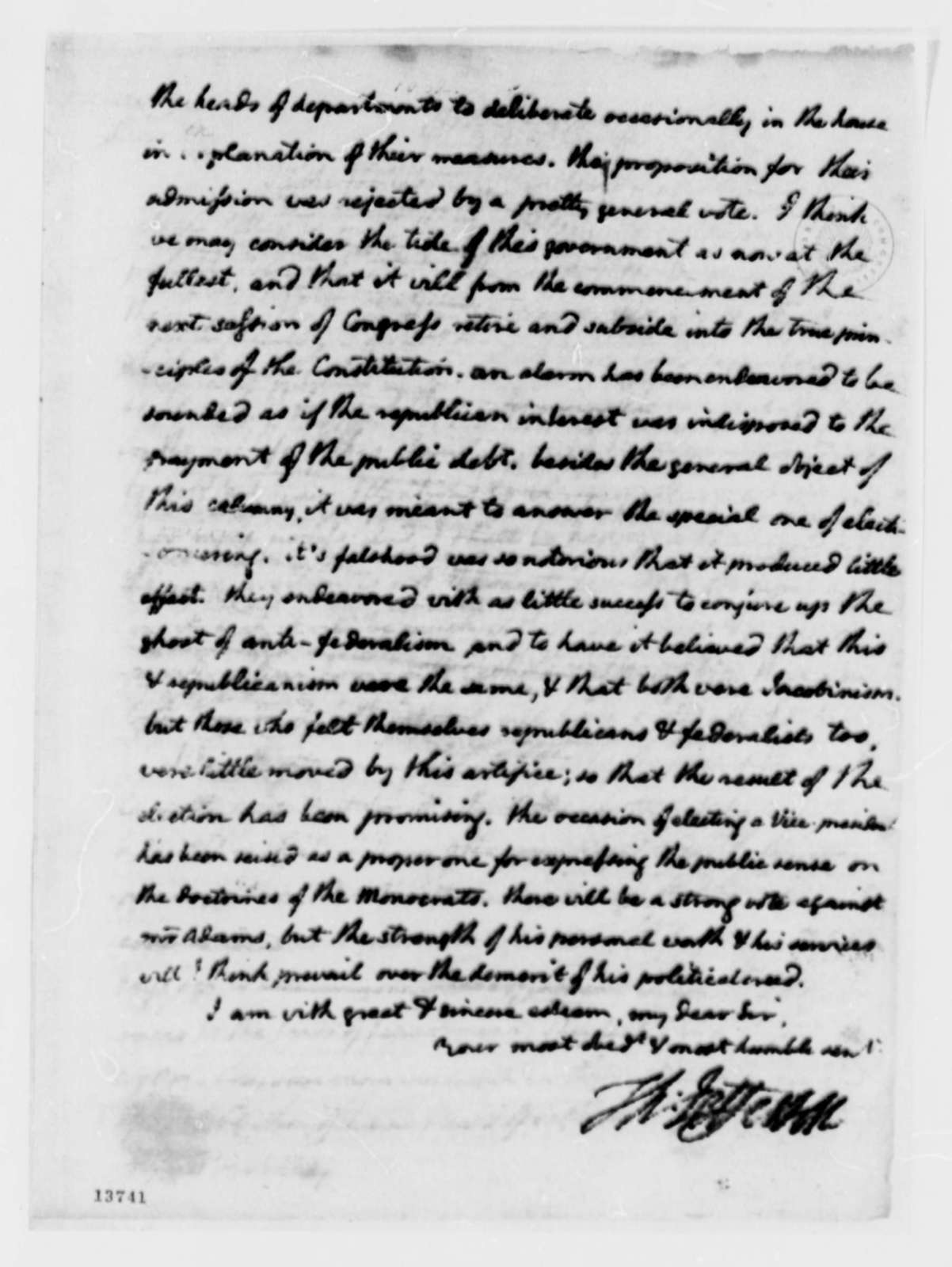 Thomas Jefferson to Thomas Pinckney, December 3, 1792