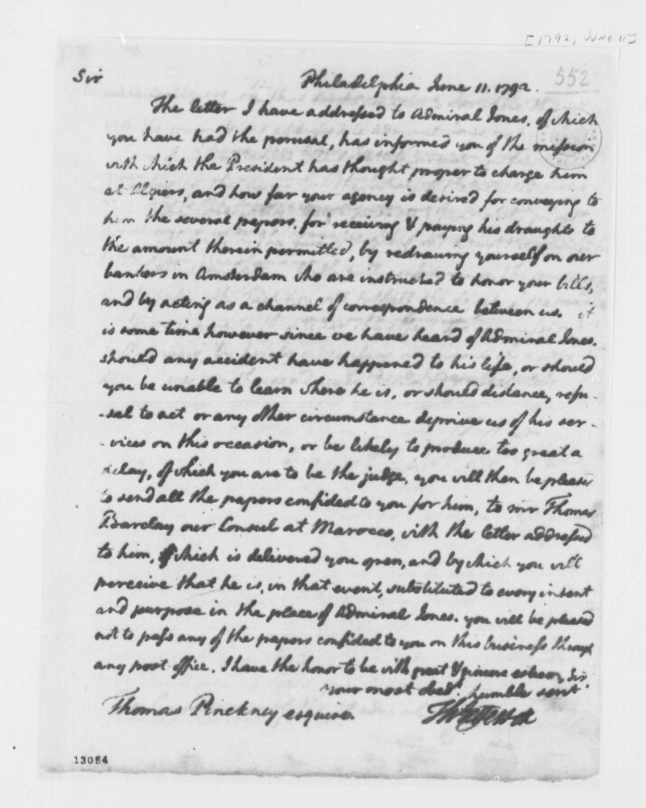 Thomas Jefferson to Thomas Pinckney, June 11, 1792, with Copy