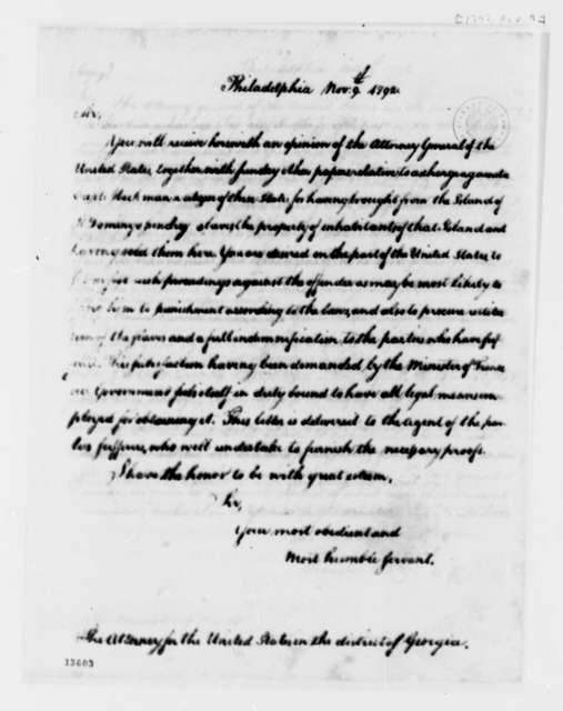 Thomas Jefferson to United States District Attorney of Georgia, November 9, 1792