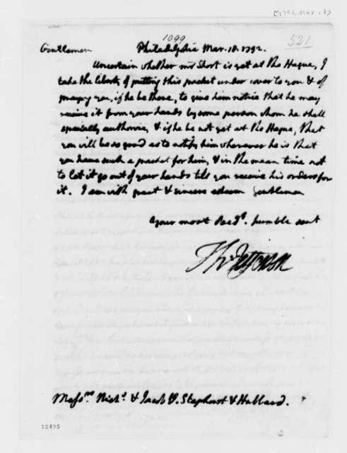 Thomas Jefferson to Van Staphorst & Hubbard, March 18, 1792