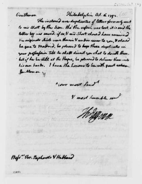 Thomas Jefferson to Van Staphorst & Hubbard, October 16, 1792