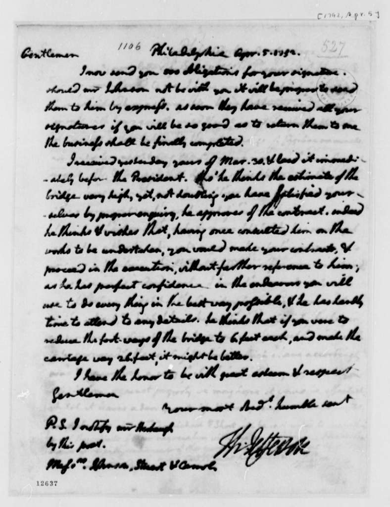 Thomas Jefferson to Washington, D.C., Commissioners, April 5, 1792