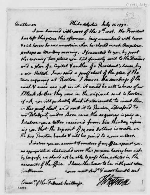 Thomas Jefferson to Washington, D.C., Commissioners, July 11, 1792