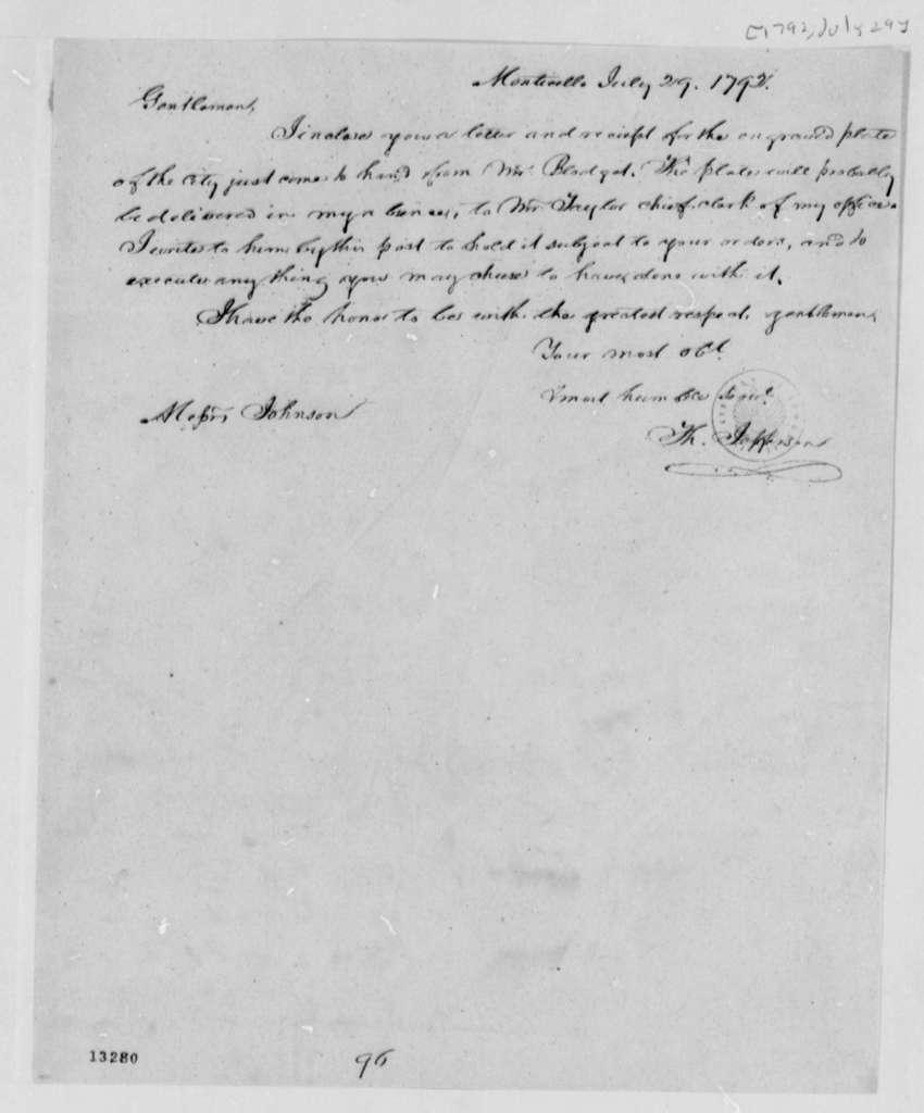 Thomas Jefferson to Washington, D.C., Commissioners, July 29, 1792