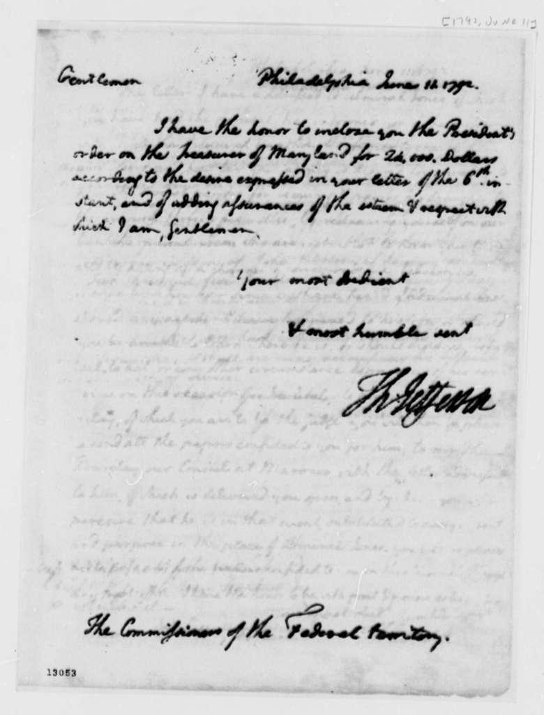 Thomas Jefferson to Washington, D.C., Commissioners, June 11, 1792