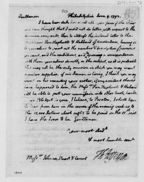Thomas Jefferson to Washington, D.C., Commissioners, June 9, 1792