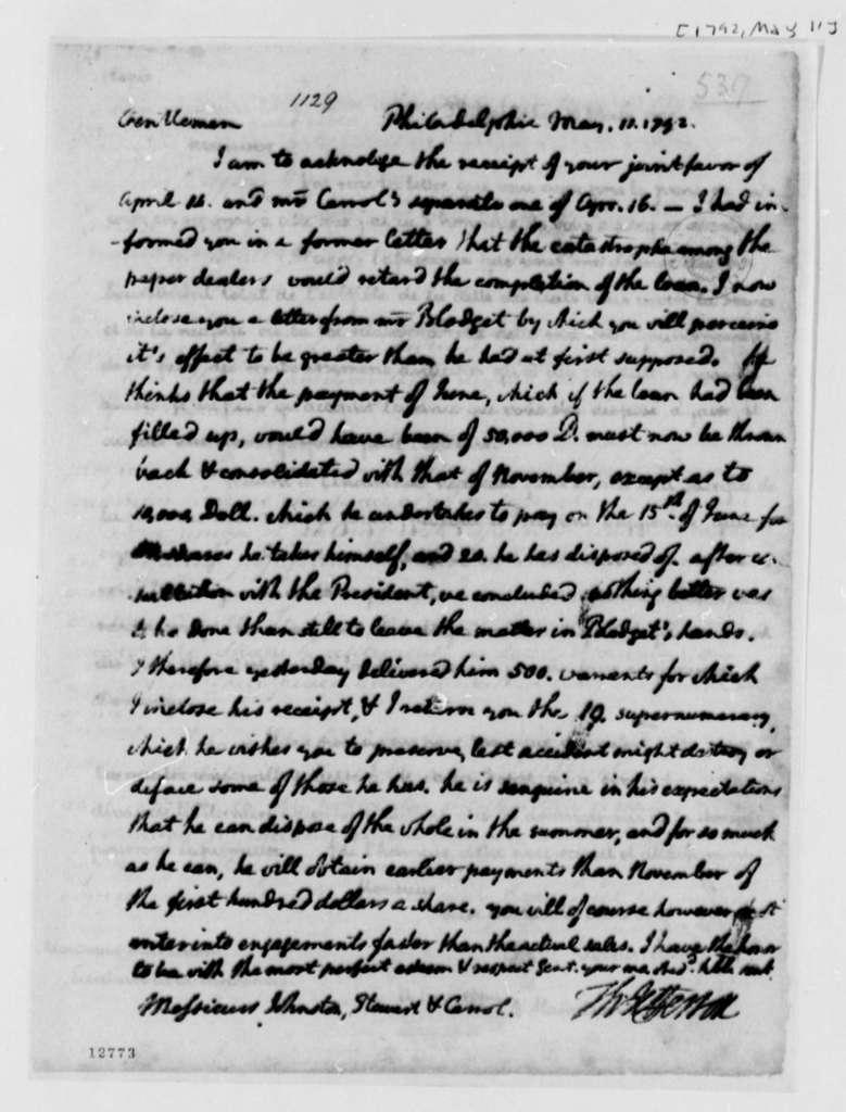Thomas Jefferson to Washington, D.C., Commissioners, May 11, 1792