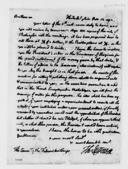 Thomas Jefferson to Washington, D.C., Commissioners, November 13, 1792