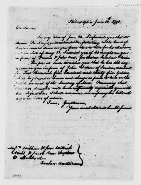 Thomas Jefferson to Wilhelm Willink, et al, June 12, 1792