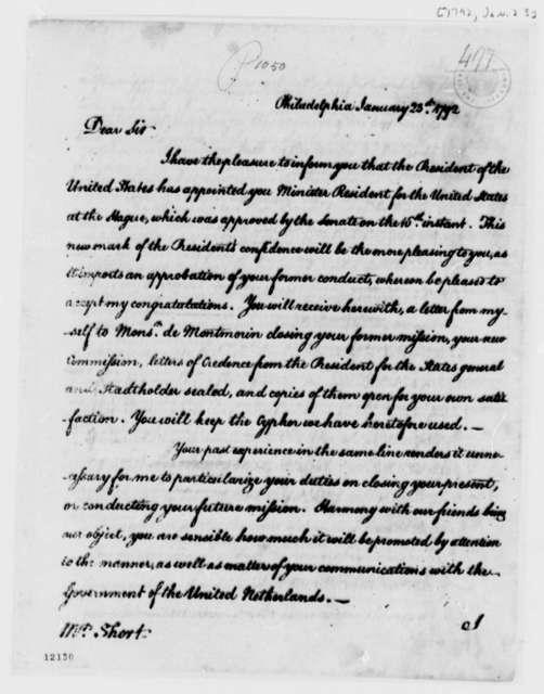 Thomas Jefferson to Willam Short, January 23, 1792
