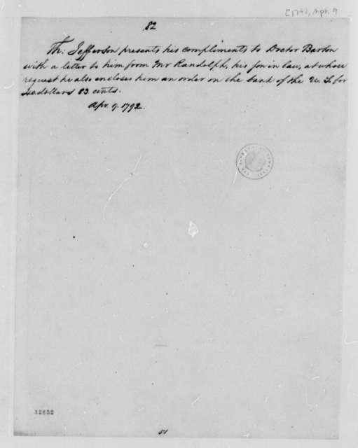 Thomas Jefferson to William Barton, April 9, 1792