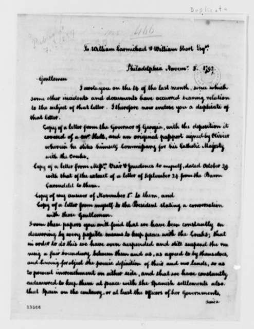 Thomas Jefferson to William Carmichael and William Short, November 3, 1792, with Copy