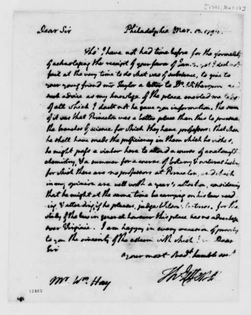 Thomas Jefferson to William Hay, March 13, 1792, with Copy
