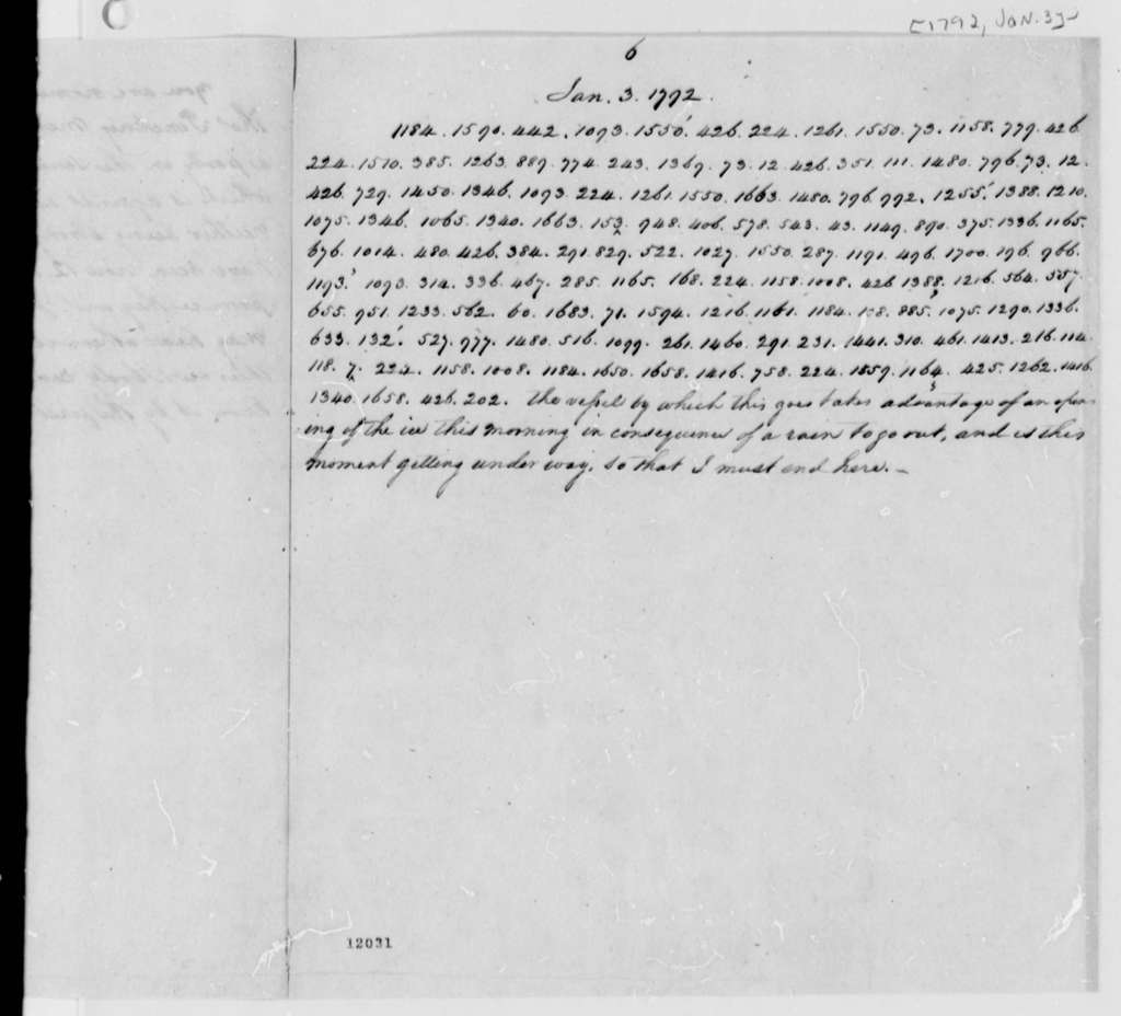 Thomas Jefferson to William Short, January 3, 1792, with Copy and Cipher
