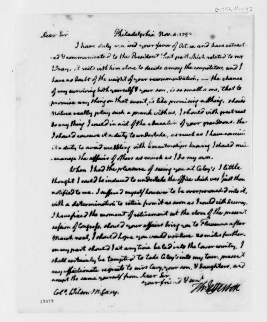 Thomas Jefferson to Wilson Miles Cary, November 4, 1792