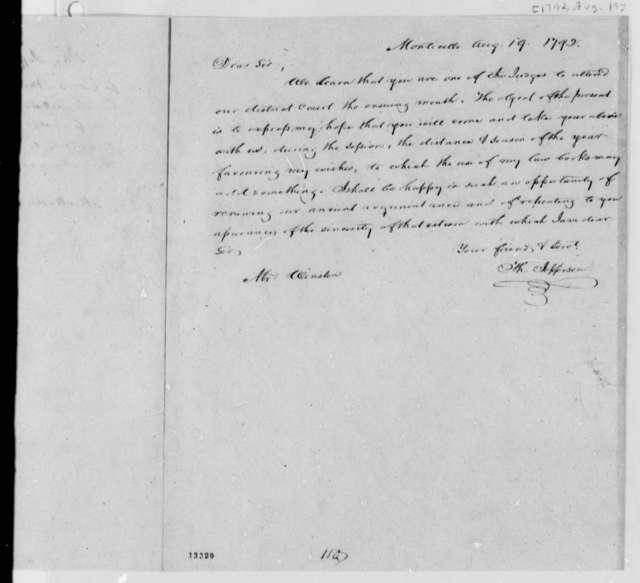Thomas Jefferson to Winston, August 19, 1792