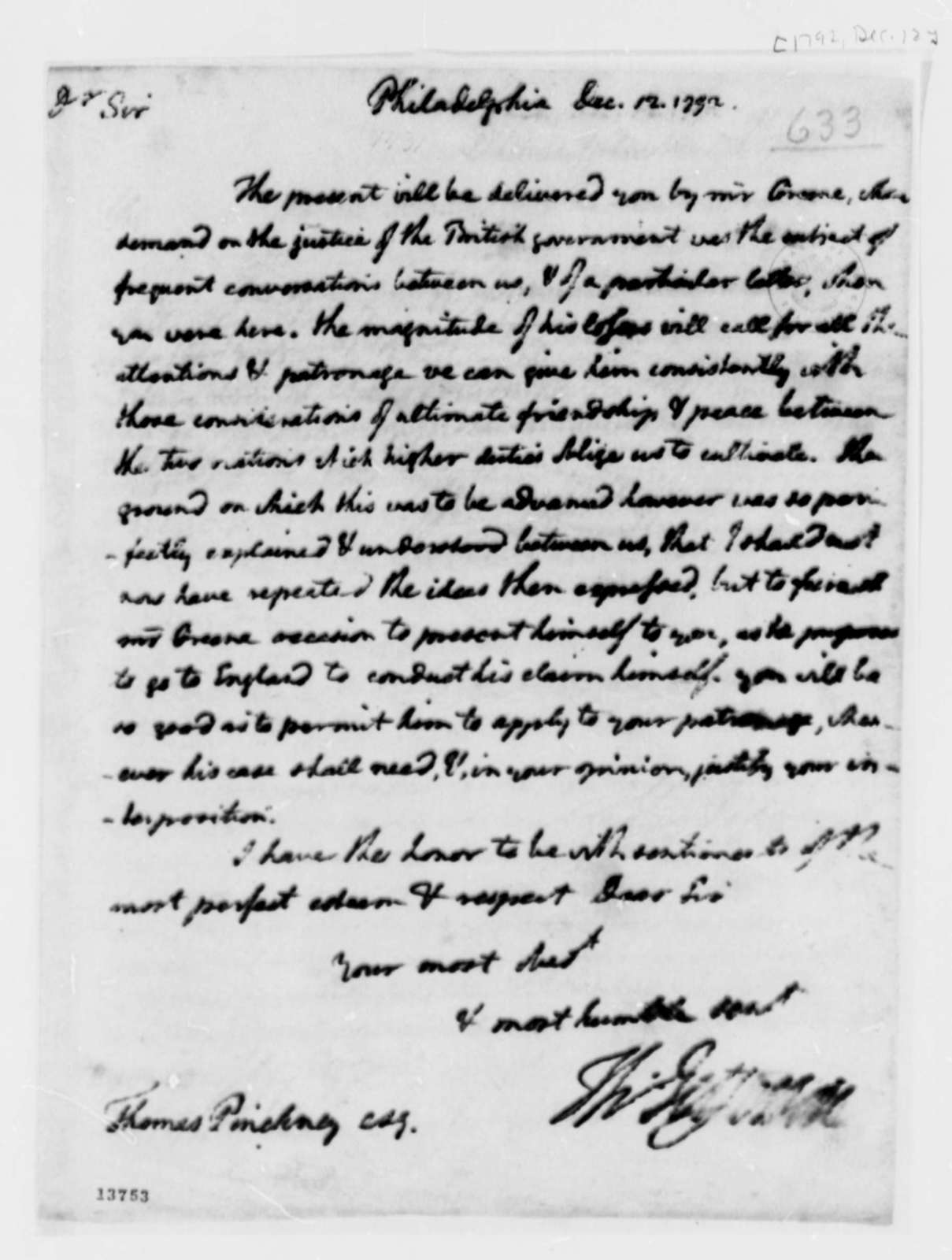 Thomas Pinckney to Thomas Jefferson, December 12, 1792