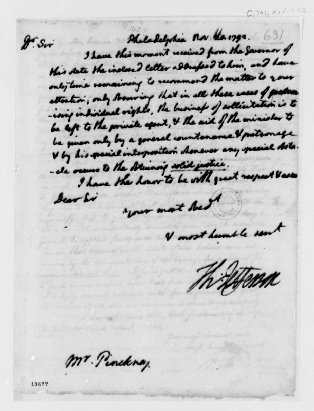 Thomas Pinckney to Thomas Jefferson, November 20, 1792