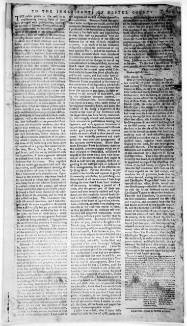 To the inhabitants of Ulster County. The public prints in this and in a neighbouring county, have of late been thronged with publications, bearing the signature of Ebenezer Foote, which were evidently intended to depreciate my reputation in the