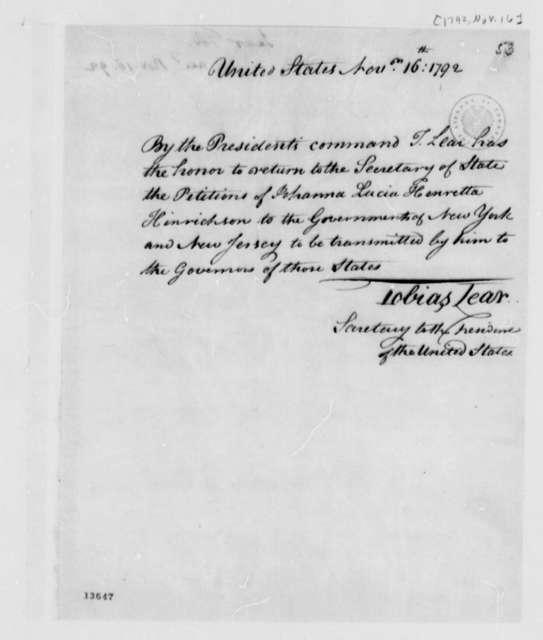 Tobais Lear to Thomas Jefferson, November 16, 1792