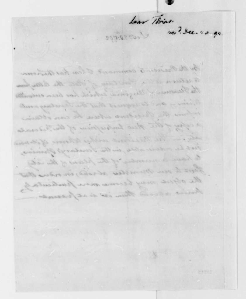 Tobias Lear to Thomas Jefferson, December 20, 1792