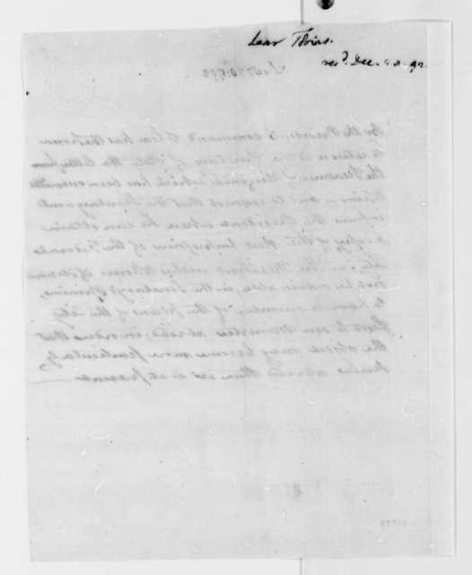 Tobias Lear to Thomas Jefferson, December 20, 1792