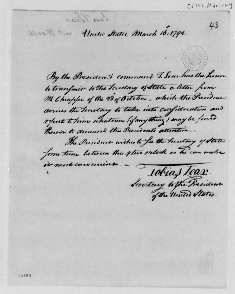 Tobias Lear to Thomas Jefferson, March 16, 1792, Memorandum on Chiappe's Letter