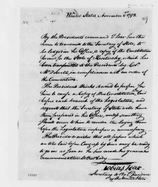 Tobias Lear to Thomas Jefferson, November 1, 1792