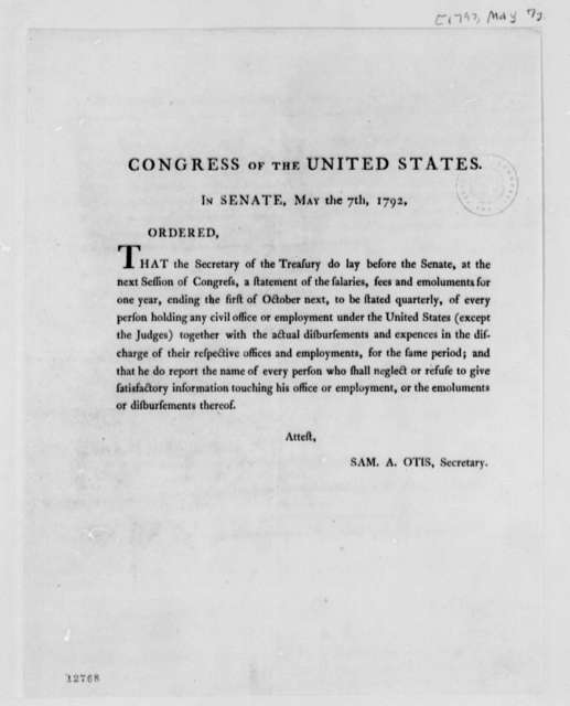 U. S. Senate, May 7, 1792, Printed Order to Report Salaries of Office Holders