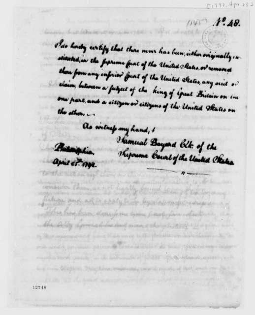 U. S. Supreme Court, April 25, 1792, U.S. and British Suits